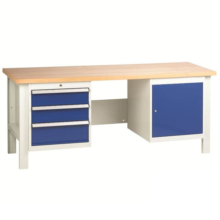 Picture of Heavy Duty Workbenches with 3 Drawer Set & Cupboard Unit